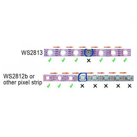 Світлодіодна стрічка RGB SMD5050, WS2813 (чорна, з управлінням, IP20, 5 В, 60 діодів/м, 5 м) - Перегляд 5